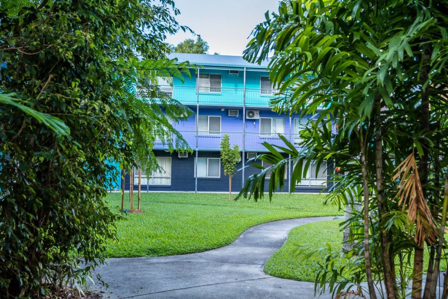 clean manicured grounds Cairns Student Lodge